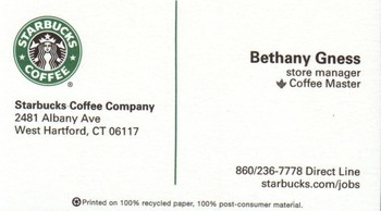 Starbucks coffee company west hartford ct ct business list business card colourmoves
